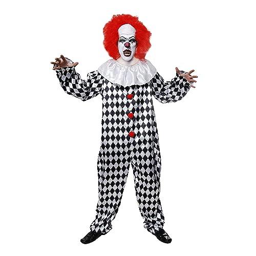 Adult EVIL CLOWN Killer IT Fancy Dress Costume Mens Horror Hell Outfit Halloween