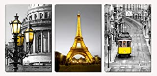 Xinqi art 3 Panels Modern Black and White Yellow Eiffel Tower Yellow Street Lamp Yellow Cable Car Canvas Wall Art, Ready to Hang for Living Room Bedroom Office (16X24inchX3pcs)