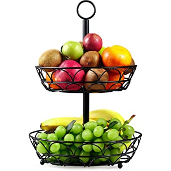LOMOFI 2 Tier Fruit Bowl Keeps Fruits and Veg Fresh and Save Space for Kitchen and Bathroom Black Fruit Bowls Vintage Style Countertop Metal Fruit Basket