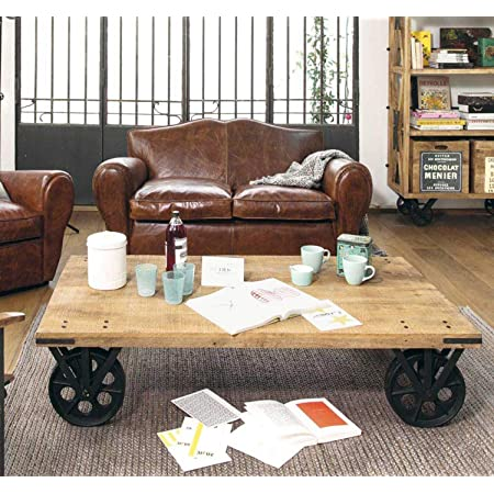 Thd The Home Dekor Tyson Solid Wood Industrial Handcrafted Design Coffee Table With Wheels For Living Room Natural Finish Amazon In Home Kitchen