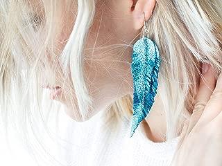 Bright blue Leather Feather Earrings, metallic layered earrings, tribal Earrings, Boho earrings, dangle earrings, long earrings FREE SHIPPING