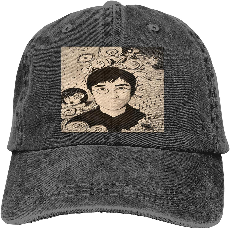Zhengyu Junji Ito Cowboy Hat Adjustable Baseball Cap Youth Retro Sports Cowboy Hat Unisex Black