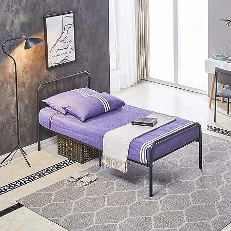 Cadre de lit en métal H.J WeDoo pour Adultes et Enfants avec 6 Pieds en Métal et Sommier Intégré (Lit 1 Place) 90x190cm - Noir