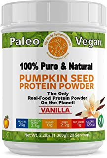 Pumpkin Seed Protein Powder | Vanilla Flaor | 100% Pure and Natural, Raw Superfood, Cold Pressed, Non-GMO & Gluten Free | Vegan, Paleo and Keto Shakes Friendly - 2.20 lbs 20 Servings