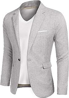 JINIDU Men's Casual Suit Sports Coats One Button Slim Fit Blazer Jacket, Sky Grey, S+