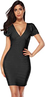 Meilun Womens Ruffled Bandage Dress V Neck Bodycon Party Dress