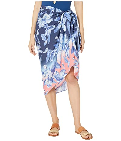 La Blanca Ombre Floral Pareo Cover-Up (Blue Moon/Coral Multi) Women