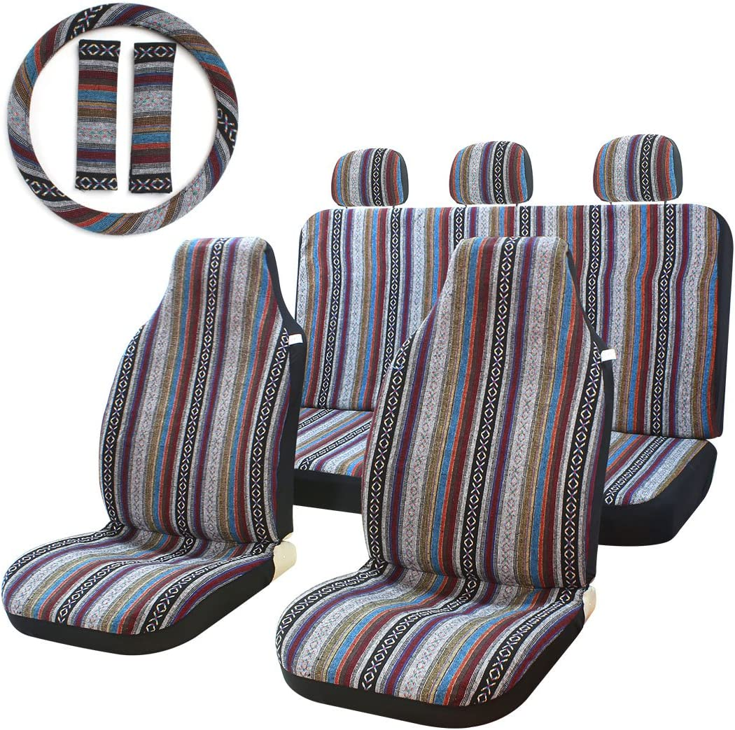10pc Tucson Mall Stripe Multi-Color Seat National products Cover Blanket Saddle Baja Uni Weave