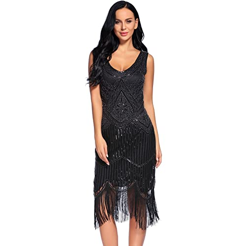 807629af3536 Flapper Girl Women's Vintage 1920s Sequin Beaded Tassels Hem Flapper Dress