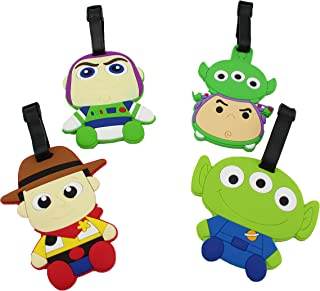 Finex Set of 4 - Toy Story Woody Buzz Lightyear Squeeze Alien Luggage ID Tag Bags with Adjustable Strap