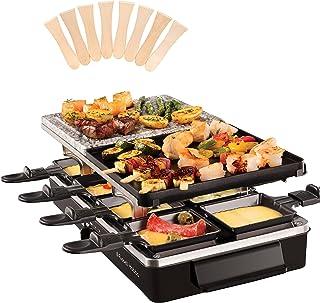 Russell Hobbs Appareil Raclette Multifonction 8 Personnes 1400W, Pierrade, Grill Réversible, Pièces Compatibles Lave-Vaiss...