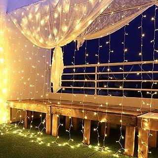 Rideau Lumineux, Guirlandes Lumineuses 600 Led 6mx3m,8 Modes d'Eclairage, Basse Tension 31V, Decoration de Fenêtre, Noël, ...