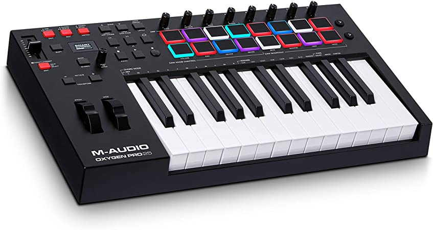 M-Audio Oxygen Pro 25 – 25 Key USB MIDI Keyboard Controller With Beat Pads, MIDI assignable Knobs & Buttons and Software Suite Included