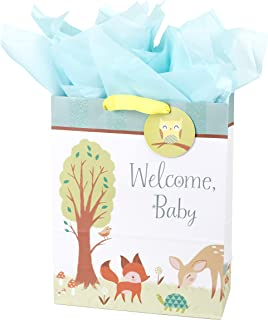 """Hallmark 15"""" Extra Large Baby Gift Bag with Tissue Paper (Woodland Animals) for Baby Showers, New Parents and More"""