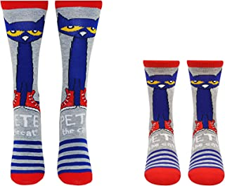 Pete the Cat Socks (Adult & Youth) (2 Pair) - Pete Cat Gifts Crew Socks - Fits Shoe Size: 4-10 (Ladies) & 9-3 (Kids)