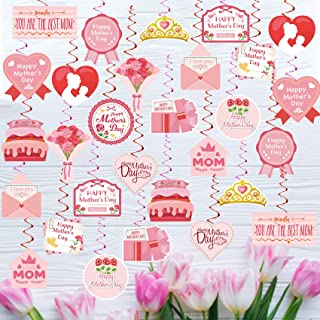 Funnlot Mothers Day Hanging Decoration 72PCS Mothers Day Decorations For Party Home Pink Double Sided Best Mom Ever Ceilin...