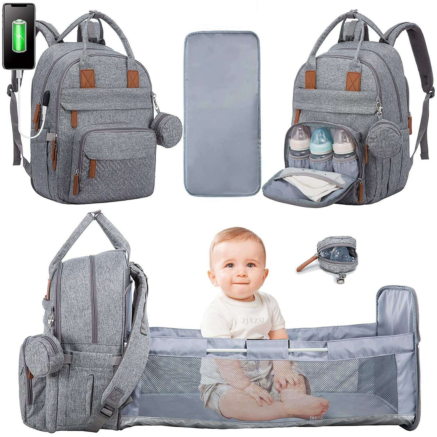 Diaper Bag Backpack with Changing Station,Travel Bassinet,Pacifier Case Baby Bag Backpack for Girls Boys,Mommy Bag with USB Charging Port Unisex for Dad Mom