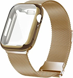 JuQBanke Metal Magnetic Bands Compatible for Apple Watch Band 38mm with Case, Stainless Steel Milanese Mesh Loop Replacement Strap Compatible with iWatch Series SE 6/5/4/3/2/1 for Women Men,Light Gold