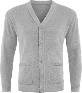 GA COMMUNICATIONS Mens Plain Button UP Cardigan Knitwear Classic Granddad Front Pockets Knitted TOP[Light Grey,4XL]
