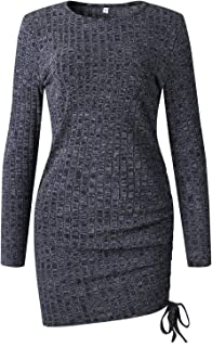Mansy Women's Sexy Long Sleeve Ribbed Knit Sweater Mini Bodycon Party Cocktail Dress