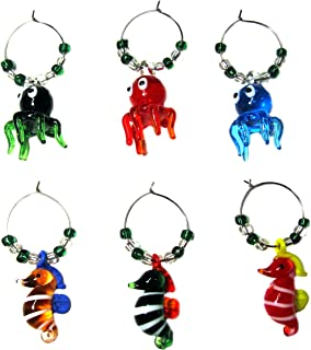 WINE GLASS CHARMS - OCTOPUS & SEAHORSE (tag/markers) set of 6