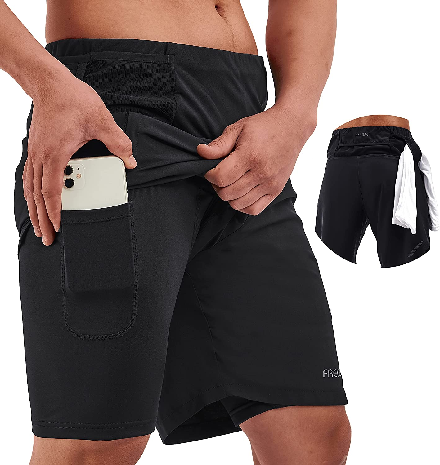 Limited price sale FREUE Men's Special Campaign 2 in 1 Running Shorts 8