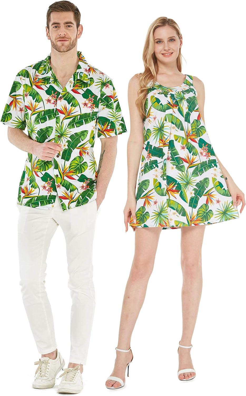 Couple Matching Luau Aloha Shirt New Spring new work item Round Paradis Dress Orchid Neck