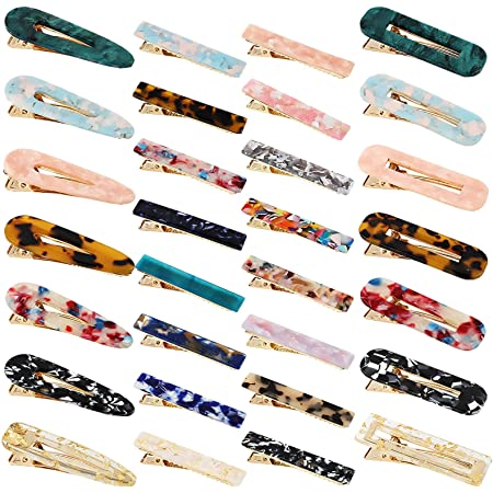 Keopel 30pcs Resin Hair Clips Set, Acrylic Alligator Clips Hair Accessories Leopard Print Hair Barrettes for Women