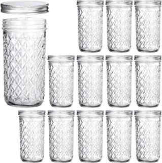 Wide Mouth Mason Jars 22 oz, VERONES 22 OZ Mason Jars Canning Jars Jelly Jars With Wide Mouth Lids, Ideal for Jam, Honey, Wedding Favors, Shower Favors, Baby Foods, 12 PACK