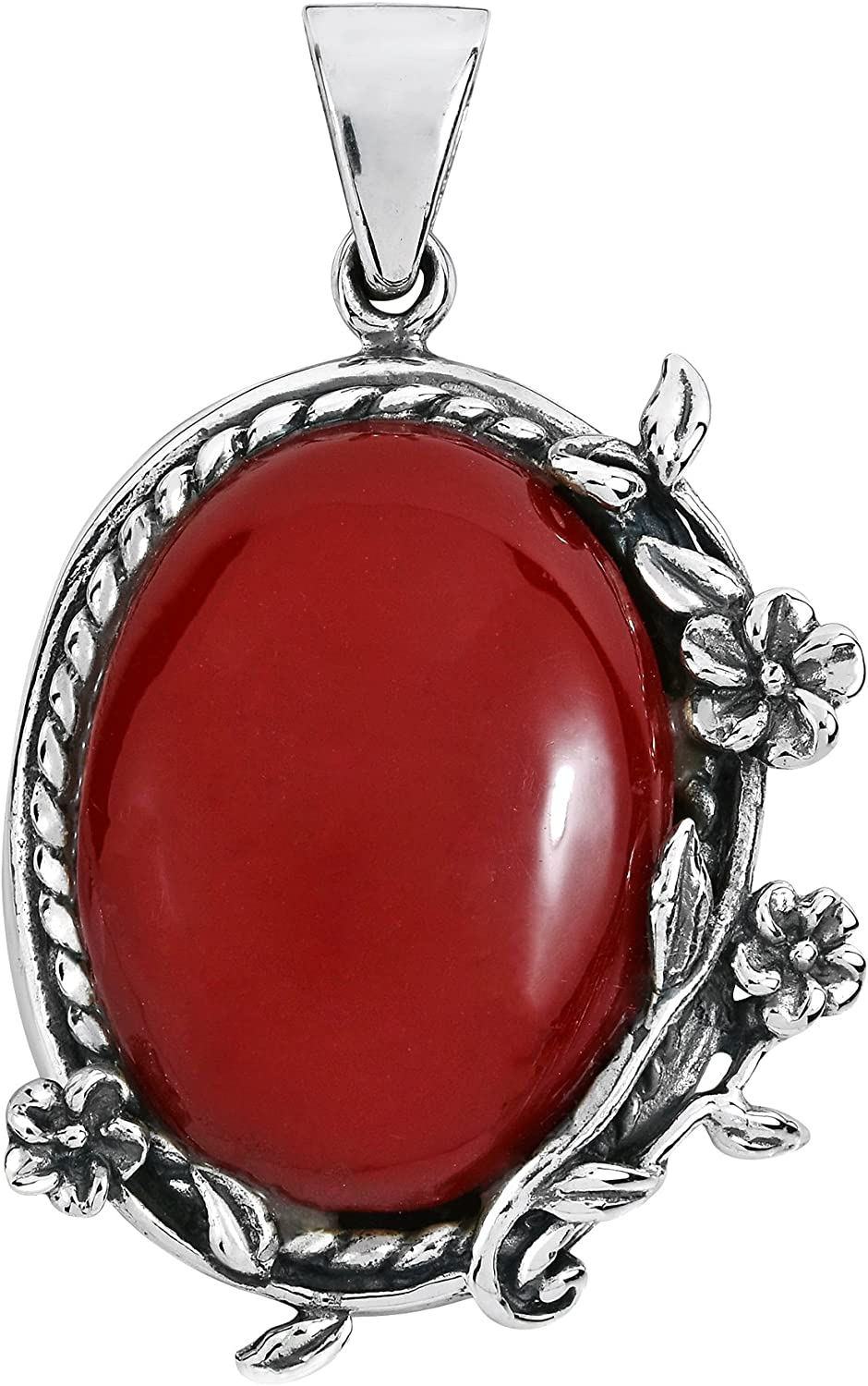 Cheap Ranking TOP13 mail order shopping Vintage Style Floral Vines Oval Reconstructed Ste Red .925 Coral