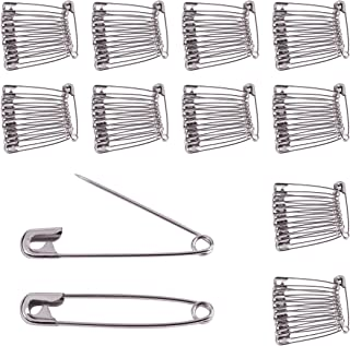 BEADNOVA Safety Pins Small Nickel Finish Diaper Pins Safety Pins Bulk for Garment Art Craft (120pcs, 1.3 Inch, 32mm)