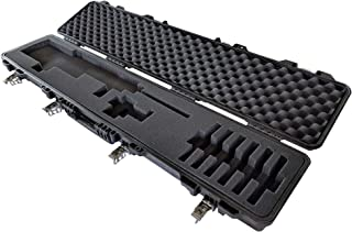 Waterproof Iron-Clasp Cam-Latch Pick and Pluck cubed foam Hard Tactical Rifle Shotgun carry case Airtight + All Weather large gun locking TSA Airline Airplane Travel approved AR15 AR-15 magazine scope