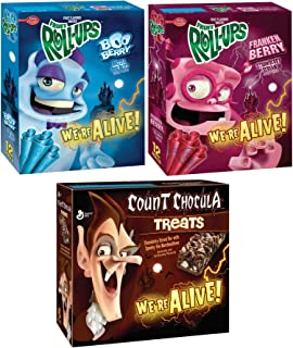 It's Alive Monster Morning Fruit Roll Boo-Berry & Franken Berry + Count Chocula Chocolate Cereal Bar with Marshmallows Limited Halloween Edition