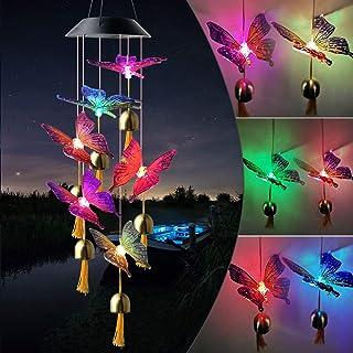 Timbre de viento con diseño de mariposa, color negro, parte superior solar, diseño de mariposa, para decoración de jardín,...