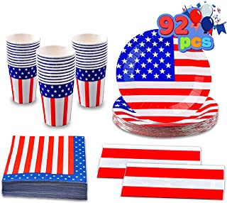 JOYIN 92 Pcs Patriotic Party Supplies Set of 2 Table Covers 30 Paper Cups 30 Paper Plates 30 Napkins for 4th of July, Inde...