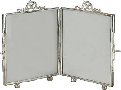 Better & Best Folding Photo Frame, Glass, Metal, Silver, 12.7 x 4