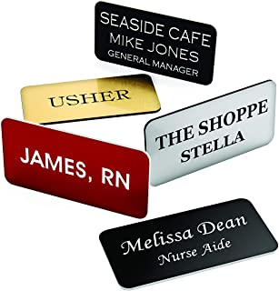 """Providence Engraving Custom Name Badges with Pin Backing - Durable Personalized Acrylic Name Tag with 3 Lines of Custom Text and Pin Backing, 1.5"""" x 3"""""""