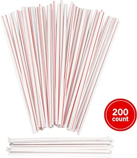 Plastic Drinking Straws, Extra Long, Red and White Striped, Individually Wrapped Straw 10 1/4 inches long, BPA Free, Restaurant Grade,200 Pack Disposable Straws