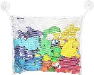 Toyganizer Bath Toy Organizer + 2 Bonus Strong Hooked Suction Cups, White