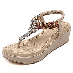 bbc9d89b7 Womens Wedge Sandals Thong Platform Beaded Slingback Bohemia Summer ...