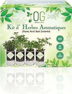 OG Kit Huerto Urbano - Kit Completo de 4 Plantas aromaticas (Tomillo, Cilantro, Albahaca y Perejil), 100% Semillas Bio, NO...
