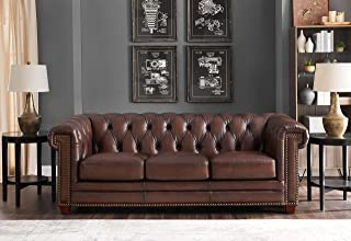 Hydeline Stanwood 100% Leather Sofa Set, Dark Brown (Sofa)