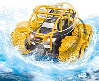 Amphibious Remote Control Car for Boys & Kids,RC Stunt Off-Road car 360° Rotating Inverted,2.4GHz 6V Super Climbing Power,Inflatable Wheels Support Waterways Off-Road and Water Driving