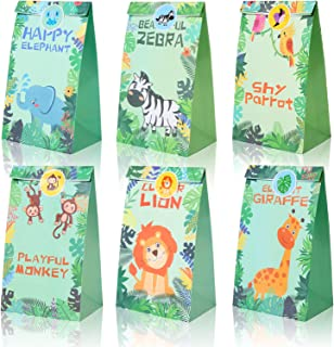 Party Favor Bags 12PCS for Jungle Safari Zoo Animals Gift Bags Treat Goody Favor Bags for Kids Baby Shower Birthday Decorations Jungle Theme Party Supplies