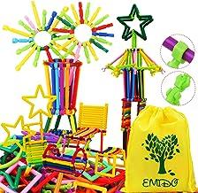 EMIDO 480 Pcs Building Toy Building Blocks Bars Different Shape Educational Construction Engineering Set 3D Puzzle , Inter...
