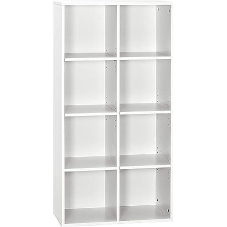 Meerveil Bibliothèque Etagère de Rangement à 4 Niveaux, Bibliothèque en Bois Moderne, pour Bureau, Salon, Chambre, Blanc (30 * 60 * 120cm)