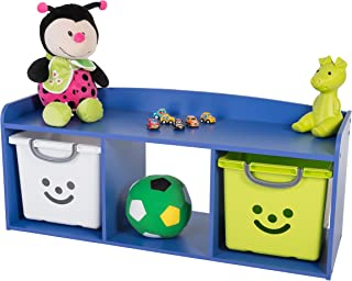 Iris Ohyama Kids Bench Coffre de Rangement pour Enfant, Bois, Bleu, 101,4 x 34 x 43,4 cm