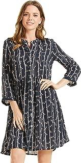 SONJA BETRO Amazon Brand Women's Printed Button Down 3/4 Sleeve Dress Plus Size
