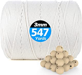 Macrame Cord 3mm × 547Yards | 100% Natural Cotton Macrame Rope | 4 Strand Twisted Soft Cotton Cord for Handmade Wall Hangi...