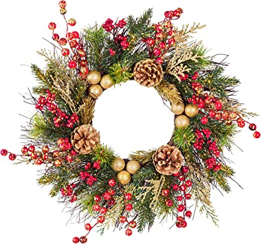 Artiflr 18 Inch Christmas Wreath for Front Door, with Berries and Pine Cones, Holiday Decorations Wreath for Christmas Indoor Outdoor Decorations